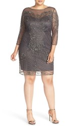 Pisarro Nights Plus Size Women's Adrianna Papell Beaded Three Quarter Sleeve Shift Dress