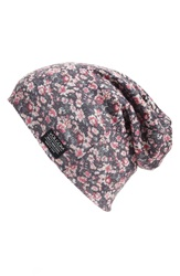 Volcom 'Garden Party' Floral Print Beanie Black