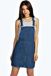 Boohoo Denim Dungaree Pinafore Dress Indigo