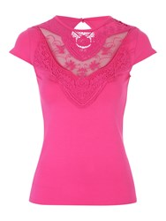 Jane Norman Black Brocade Top Pink