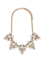 Forever 21 Faux Pearl Statement Necklace Antic Gold Nude