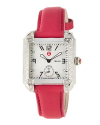 Michele Milou Diamond Watch W Leather Strap Pink