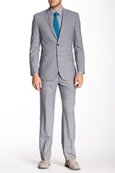 English Laundry Gray Plaid Two Button Notch Lapel Wool Suit