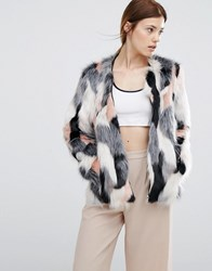 Urbancode Pacthwork Faux Fur Bomber Jacket Grey Mix