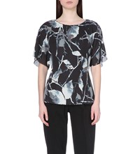 Reiss Lia Abstract Print Woven Top Midnight