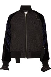Sacai Quilted Shell And Appliqued Velvet Bomber Jacket Black