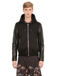 Givenchy Hooded Neoprene And Leather Bomber Jacket