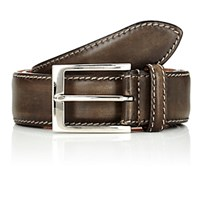 Harris Men's Contrast Stitched Leather Belt Brown Grey Brown Grey