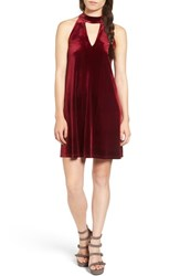 One Clothing Women's Keyhole Velvet Swing Dress Red