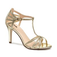 Paradox London Pink Phoebe T Bar Strappy Heeled Sandals Gold