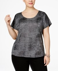 Inc International Concepts Plus Size Studded Metallic T Shirt Only At Macy's Gunmetal