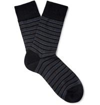 Falke Sensitive Striped Cotton Blend Socks Black