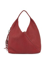 Woven Canotta Leather Crossover Hobo Bag Red Henry Beguelin