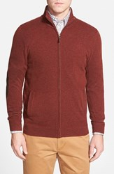 Men's Big And Tall John W. Nordstrom Full Zip Cashmere Sweater With Faux Suede Elbow Patches Brown Brunette