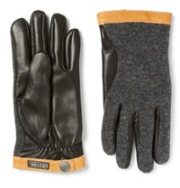 Hestra Panelled Leather And Knitted Gloves Brown