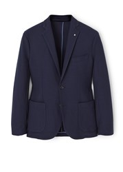 Mango Structured Cotton Blazer Navy