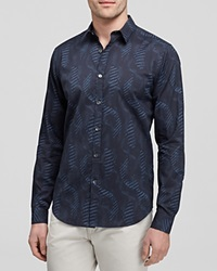 Theory Spiral Zach Woven Printed Long Sleeve Sports Shirt Slim Fit Eclipse Multi