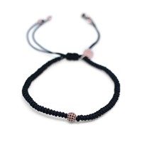 Gideon John Jewellery Rose Gold Lux Single Diamond Ball Black