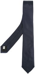 Christian Dior Homme Embroidered Tie Blue