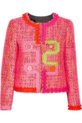 Boutique Moschino Embellished Tweed Jacket Pink