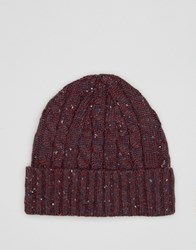 Asos Cable Fisherman Beanie In Burgundy Nep Burgundy Red