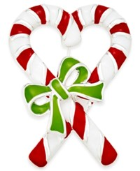 Charter Club Silver Tone Enamel Candy Cane Brooch Only At Macy's