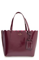 Kate Spade New York 'Lily Avenue Patent Small Carrigan' Leather Tote Brown Mahogany Radish