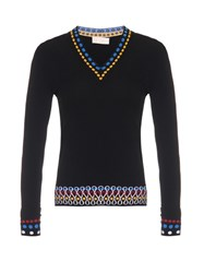 Peter Pilotto Contrast Edge V Neck Sweater Black Multi