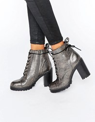 Office Ammo Pewter Leather Chunky Lace Up Heeled Ankle Boots Pewter Leather Silver