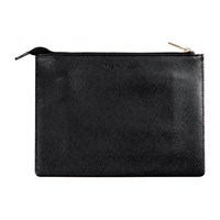 The Founder Small Black Leather Pouch Beige