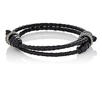 Bottega Veneta Men's Sterling Silver And Intrecciato Leather Double Band Bracelet Black Blue Black Blue