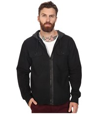 Tavik Izumi Long Sleeve Hooded Flannel Black Heather Black Men's Short Sleeve Knit