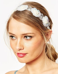 Asos Summer Haze Floral Ribbon Headband White