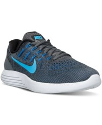 Nike Men's Lunarglide 8 Running Sneakers From Finish Line Dark Grey Blue Glow Black