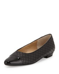 Neiman Marcus Ginger Quilted Cap Toe Flat Black Blac