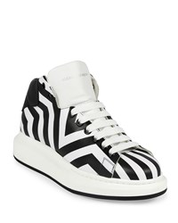 Alexander Mcqueen Stripe Print Leather High Top Sneaker Black White