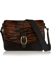 Isabel Marant Loxley Suede And Printed Calf Hair Shoulder Bag Black