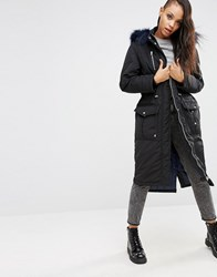 Asos Maxi Parka With Faux Fur Hood Black