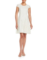 Tommy Hilfiger Cap Sleeved Lace Fit And Flare Dress Vanilla