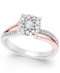 Macy's Diamond Cluster Twist Ring 1 2 Ct. T.W. In 14K White And Rose Gold Two Tone