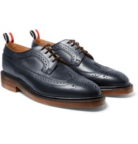Thom Browne Longwing Leather Wingtip Brogues Storm Blue