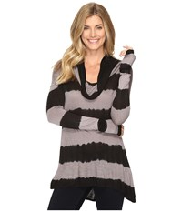 Lucky Brand Cowl Neck Tunic Black Multi Women's Blouse
