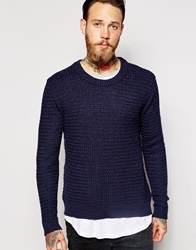 Dr. Denim Dr Denim Crew Jumper Weave Textured Knit Bluemix