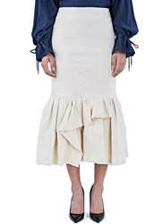 Lanvin Mid Length Dropped Asymmetric Frill Skirt Neutrals