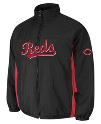 Majestic Men's Cincinnati Reds Double Climate On Field Full Zip Jacket Black Red