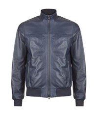 Pal Zileri Nappa Leather Bomber Jacket Dark Blue