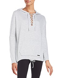 Betsey Johnson Performance Lace Up Hoodie Light Grey
