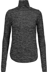 Rebecca Minkoff Minnie Marled Cotton Blend Turtleneck Sweater Charcoal