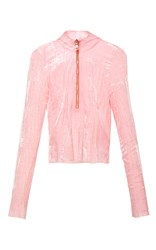 Emilio Pucci Crushed Velvet Long Sleeve Top Pink