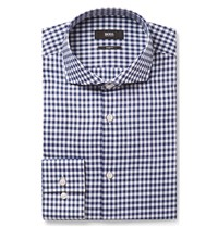 Hugo Boss Blue Jason Slim Fit Cutaway Collar Gingham Cotton Shirt Blue